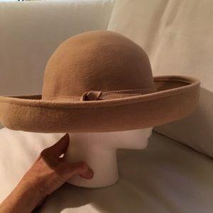 Tan Wool Felt Hat w/ turned up brim